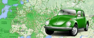 Зеленое авто на карте