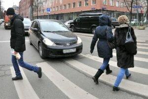 Пропуск пешеходов на зебре